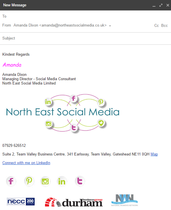 Put Social Media links at the bottom of your email , in your signature pane