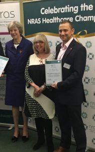 Dr Martin Lee, Theresa May, nras healthcare champion award